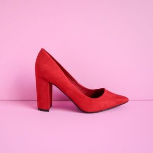 BAMBOO Shoes - Bamboo Red Pointed Toe Block Heel Suede Heels